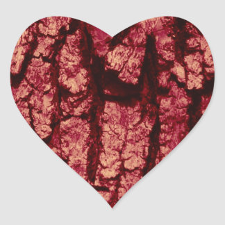 Tree bark structure, red heart stickers