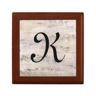 Tree Birch Bark White Letter K Keepsake Box