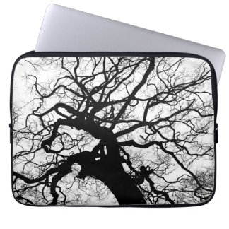 Tree Black and White Silhouette Laptop Sleeves