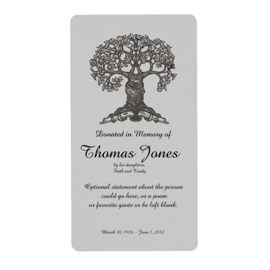 Tree Book Donated in Memory of Bookplate .. Shipping Label