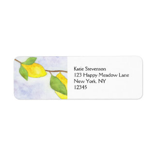 Tree Branch with Lemons and Leaves in Watercolor Return Address Label