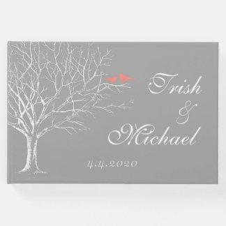 Tree Branches Gray Coral Birds Wedding Guestbook