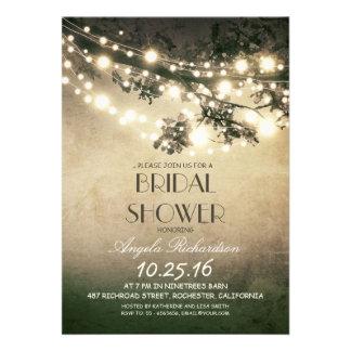 tree branches string lights bridal shower custom invitations