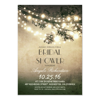 tree branches & string lights bridal shower 5x7 paper invitation card