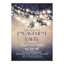 tree branches & string lights engagement party 13 cm x 18 cm invitation card