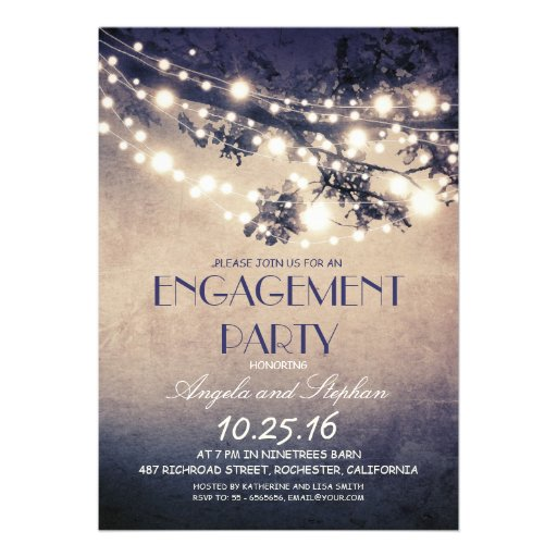tree branches & string lights engagement party personalized invite