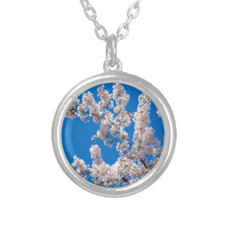 Tree branches with blooming white flowers silver plated necklace