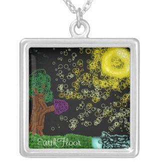 Tree Breezes Square Pendant Necklace