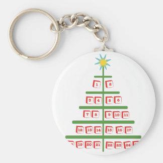 Tree Calendar Basic Round Button Key Ring