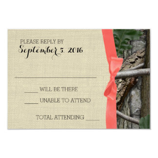 Tree Camouflage and Coral Bow Response 9 Cm X 13 Cm Invitation Card
