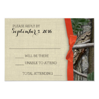Tree Camouflage and Orange Bow Response 9 Cm X 13 Cm Invitation Card