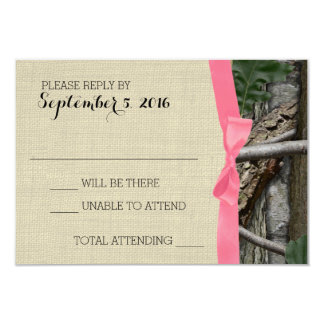 Tree Camouflage and Pink Bow Response 9 Cm X 13 Cm Invitation Card