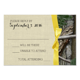 Tree Camouflage and Yellow Bow Response 9 Cm X 13 Cm Invitation Card