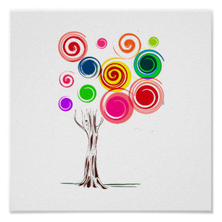 Tree colored swirls spiral eco graphic.png print