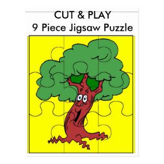 Tree, CUT & PLAY 9 Piece Jigsaw Puzzle Postcard