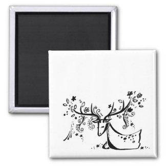 Tree Deer Square Magnet