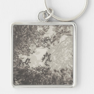 Tree Double Exposure Silver-Colored Square Key Ring
