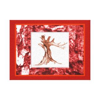 Tree Drawing on Tree Bark Photo Red Canvas Print