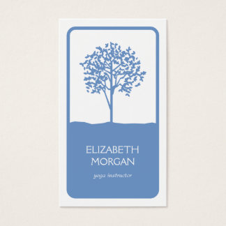 TREE EMBLEM LOGO in LIGHT BLUE Business Card
