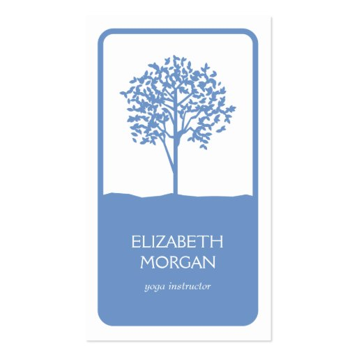 TREE EMBLEM LOGO in LIGHT BLUE Business Card Template