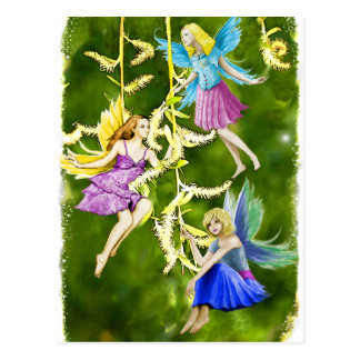 Tree Fairies on the Weeping Willow Postcard