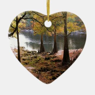 Tree Fall On Calm River Ceramic Heart Decoration