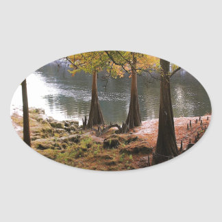 Tree Fall On Calm River Oval Sticker