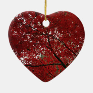 Tree Fall Season Red Brown Autumn Leaves Ceramic Heart Decoration