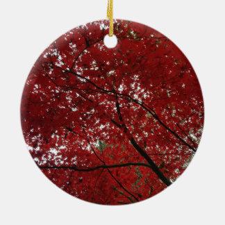 Tree Fall Season Red Brown Autumn Leaves Ceramic Ornament