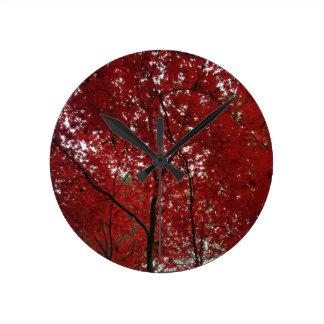 Tree Fall Season Red Brown Autumn Leaves Clock