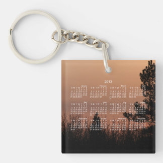 Tree Family; 2013 Calendar Single-Sided Square Acrylic Key Ring