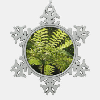 Tree Fern in the Rainforest Snowflake Pewter Christmas Ornament