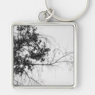 Tree Fingers (B&W) Silver-Colored Square Key Ring