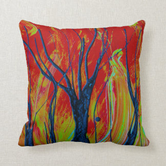 tree flame spraypainting cushion