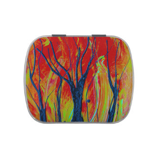 tree flame spraypainting jelly belly tins