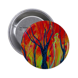 tree flame spraypainting pinback buttons