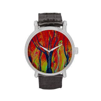 tree flame spraypainting wristwatch