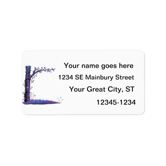 Tree floral vines purple left side pretty graphic. address label