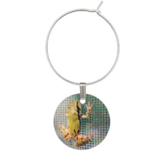 Tree Frog Climbing Screen Photograph Wine Charm