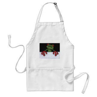 TREE FROG HOLDING SIGN: YOU PICK WORDING STANDARD APRON