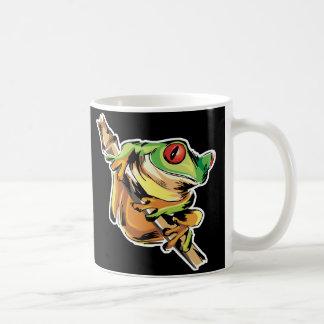 tree frog on branch coffee mug