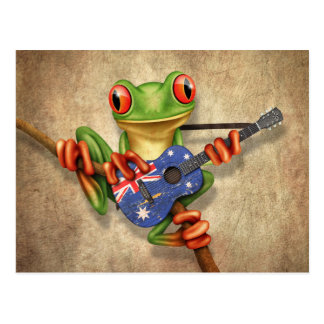 Tree Frog Playing Australian Flag Guitar Postcard