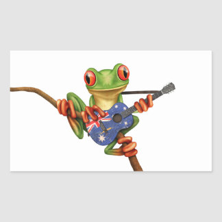 Tree Frog Playing Australian Flag Guitar White Rectangular Sticker
