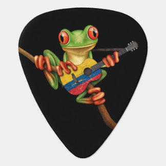 Tree Frog Playing Colombian Flag Guitar Black Plectrum