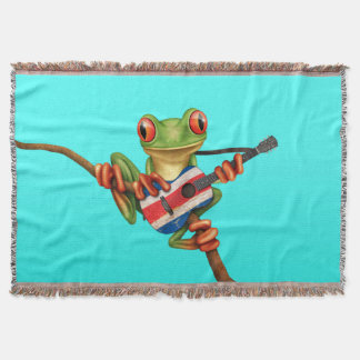 Tree Frog Playing Costa Rica Flag Guitar Blue