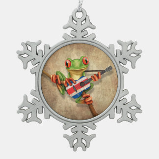 Tree Frog Playing Costa Rica Flag Guitar Pewter Snowflake Decoration