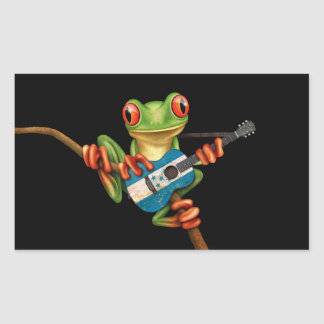 Tree Frog Playing Honduras Flag Guitar Black Rectangle Stickers