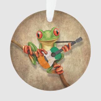 Tree Frog Playing Ivory Coast Flag Guitar