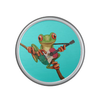Tree Frog Playing Mexican Flag Guitar Blue Speaker