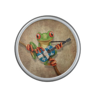 Tree Frog Playing Quebec Flag Guitar Speaker